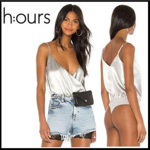NWT h:ours Pina Bodysuit in Silver Smoke. S